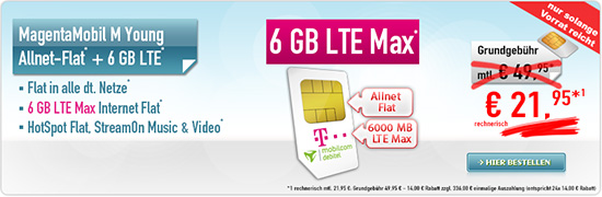 MagentaMobil M Young 21,95 € Aktion