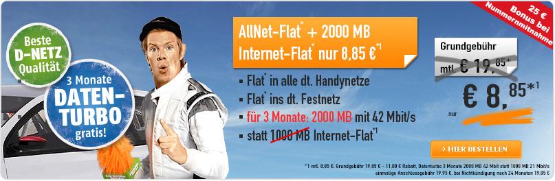 Klarmobil Allnet Flat 2000 MB 8.85 €