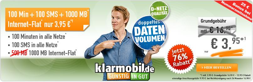 Klarmobil Smartphone Flat VF 1000 3.95 €