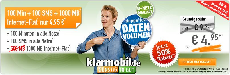 Klarmobil Smartphone Flat VF 1000 4.95 €
