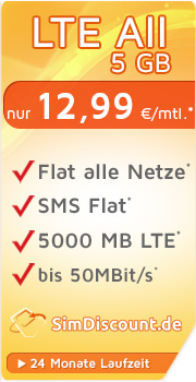 Sonder-Aktion SimDiscount LTE All 4 GB LZ