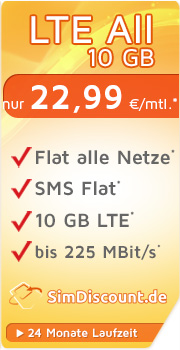 Sonder-Aktion SimDiscount LTE All 10 GB LZ